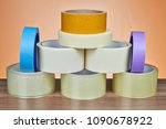 many rolls of scotch packing... | Shutterstock . vector #1090678922