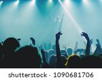 singer applauding to the crowd... | Shutterstock . vector #1090681706