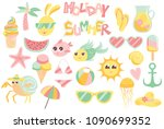 summer vector set with cute... | Shutterstock .eps vector #1090699352