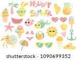 summer vector set with cute... | Shutterstock .eps vector #1090699352