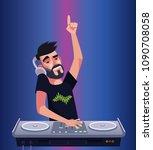 dj boy man character mixer... | Shutterstock .eps vector #1090708058