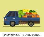car machine full of vegetables... | Shutterstock .eps vector #1090710008