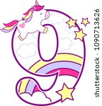 number 9 with cute unicorn and... | Shutterstock .eps vector #1090713626