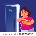 happy smiling fat big woman... | Shutterstock .eps vector #1090718558
