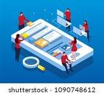 mobile data app construction | Shutterstock .eps vector #1090748612