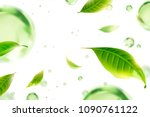 flying green tea leaves and... | Shutterstock .eps vector #1090761122