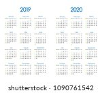 new year 2019 and 2020 vector... | Shutterstock .eps vector #1090761542