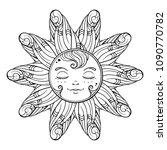 black and white ornamental sun... | Shutterstock .eps vector #1090770782