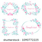 floral frame collection. set of ... | Shutterstock .eps vector #1090772225