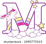 Initial M With Cute Unicorn An...