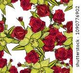vector seamless flower pattern... | Shutterstock .eps vector #1090776902