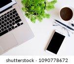 top view desk work business...   Shutterstock . vector #1090778672