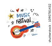 illustration for music festival ... | Shutterstock .eps vector #1090781432
