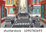 dirty street with garbage all... | Shutterstock .eps vector #1090782695