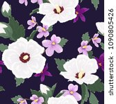 trendy exotic tropical floral...   Shutterstock .eps vector #1090805426