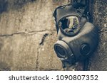 Broken Gas Mask Hung On The...