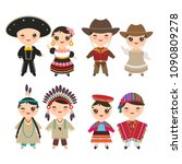 mexican american indians... | Shutterstock .eps vector #1090809278