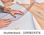 woman hands doing cross stitch. ... | Shutterstock . vector #1090819376