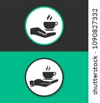 hand with coffee cup vector... | Shutterstock .eps vector #1090827332