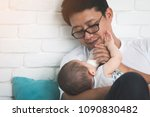 nice moment. agreeable young... | Shutterstock . vector #1090830482