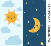 day and night cartoon character ... | Shutterstock .eps vector #1090837358