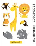 animals vector set. cartoon... | Shutterstock .eps vector #1090843715