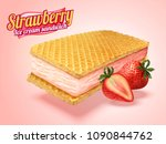 ice cream sandwich with wafer... | Shutterstock .eps vector #1090844762