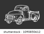truck in vintage engraved style.... | Shutterstock .eps vector #1090850612