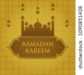 ramadan kareem with mosque and... | Shutterstock .eps vector #1090851428