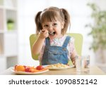 kid child girl eating healthy... | Shutterstock . vector #1090852142