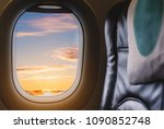travelling by air plane ... | Shutterstock . vector #1090852748