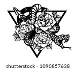 tattoo with rose and snake.... | Shutterstock .eps vector #1090857638