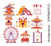 amusement park flat elements... | Shutterstock .eps vector #1090869512