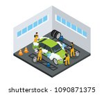 isometric carwash service... | Shutterstock .eps vector #1090871375