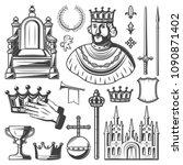 vintage royal elements set with ... | Shutterstock .eps vector #1090871402