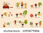 barbecue fruit and vegetable... | Shutterstock .eps vector #1090879886