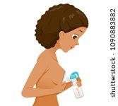 dark skin mother pumping her... | Shutterstock .eps vector #1090883882