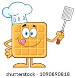 chef square waffle cartoon... | Shutterstock . vector #1090890818