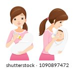 mother feeding baby with milk... | Shutterstock .eps vector #1090897472