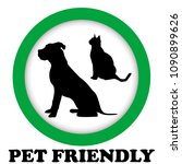 pet friendly sign with cat and... | Shutterstock . vector #1090899626