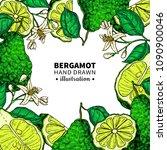 bergamot vector drawing frame.... | Shutterstock .eps vector #1090900046