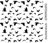 flock of black doves seamless... | Shutterstock . vector #1090902692