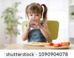 child kid girl eating and... | Shutterstock . vector #1090904078