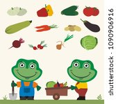 set of isolated vegetables ... | Shutterstock .eps vector #1090906916