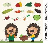 set of isolated vegetables ... | Shutterstock .eps vector #1090906922