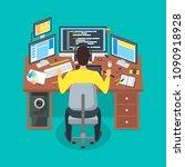 cartoon programmer writes code... | Shutterstock .eps vector #1090918928