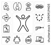 set of 13 simple editable icons ... | Shutterstock .eps vector #1090919405