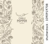 background with chilli pepper ... | Shutterstock .eps vector #1090919708