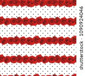 abstract roses polka dot... | Shutterstock .eps vector #1090924046