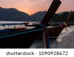 longtail boat on the beach....   Shutterstock . vector #1090928672